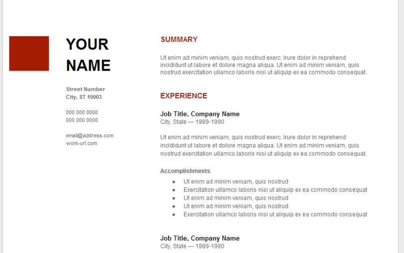 Google Resume Templates