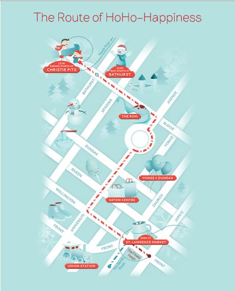 The 2013 Santa Claus Parade route (from www.thesantaclausparade.com )